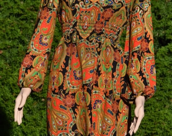 Womens Dress Long Paisley print dress by Kelly Arden / Union made in USA