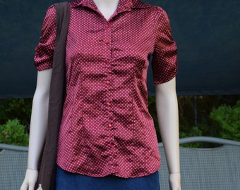 Womens Shirt Blouse Red Polka Dot blouse by Forever / Made in USA