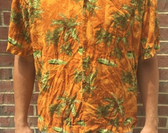 Vintage Hawaiian Shirt Orange