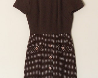 Lady Carol Collared Brown Dress Vintage Retro 60s Size 10 Double Knit Hipster