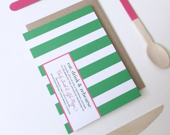 Rehearsal Dinner | Bridal Party| Engagement Party| Shower |Stripe Green & Pink