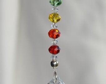 Car Rearview Mirror Charm, Chakra Hanging Ornament, Crystal Suncatcher, Crystal Ball, Light catcher, 7 Chakra Balance, Rainbow Maker,