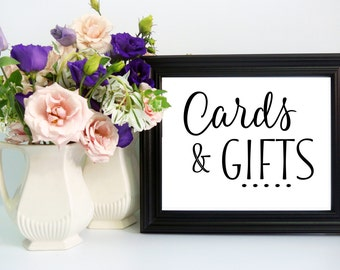 Typical Wedding Gift Card Amount : Wedding Cards & Gift Table Sign Traditional Cursive Style