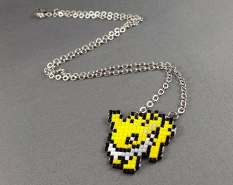 Jolteon Necklace - Pixel Necklace Pokemon Necklace Pixel Jewelry 8 bit Necklace Seed Bead Neklace Video Game Necklace Eeveelution Necklace