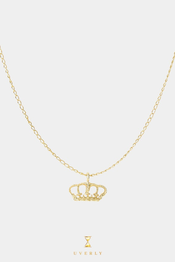 14k Solid Yellow Gold Little Princess Crown Charm Mini Pendant Chain Necklace