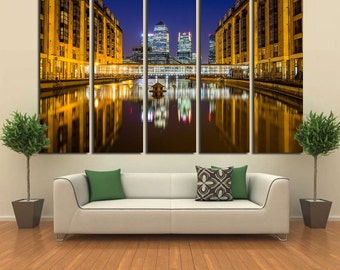 Large Wall Cityscape Canvas Color Multipanel Canvas City Pool View Art Large  1-3-4-5 Panel Cityscape Print