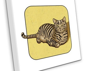 Tabby Cat on Canvas (yellow)