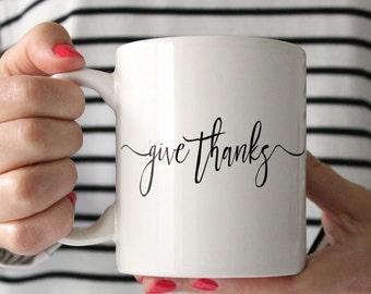 "The ""Give Thanks"" Coffee Mug | Thanksgiving Mug | Thanksgiving Gift | Christian Gifts for Women | Thanksgiving | Table Decor Thanksgiving |"