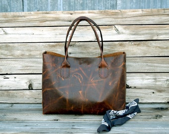 Large Leather Tote Bag / Ready to Ship / Large Hand Stitched Bag /Unisex tote / Mens Leather Tote / Market Tote / Lap Top Tote