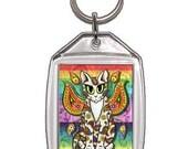 Rainbow Fairy Cat Keychain Paisley Fantasy Cat Art Keychain Keyring Gifts For Cat Lovers