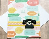 "Call Me, Hey There, Thinking of You, Thank You, Hello, I Love You, Smile, Pre-Stamped Greeting Note Card - 4"" by 5.5"""