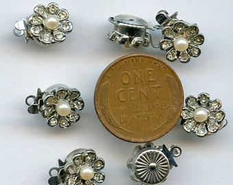 "RHINESTONE and Pearl CLASPS  Lot of (2) Flowers Vintage One Strand NOS New Old Stock 9 mm 7/16"" jc rhpclsp2  More Available"