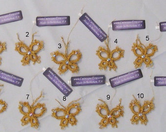 Hand-Tatted Gold Butterfly Ornaments with Swarovski Crystals - BG1