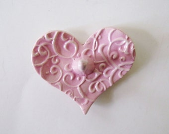 Heart Shaped Ring Holder, Ring Dish, Ring Bowl, Light Pink, Ready to ship