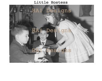 Vintage Photo - Little Hostess - Instant Download
