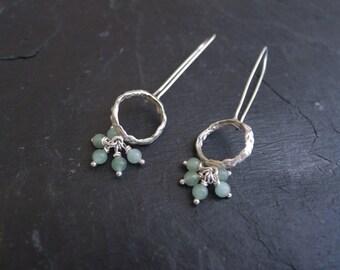 Small Fluid Circle Cluster Earrings Sterling Silver Seafoam Green Aqua Jade