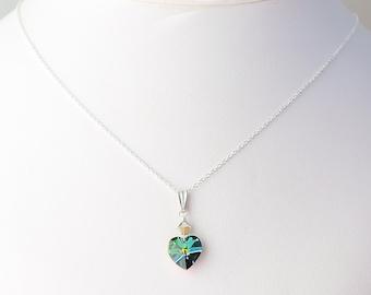 Brilliant Swarovski crystal Small Heart Charm Sterling Silver Necklace