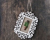 Laser Cut Wood Frame Christmas Tree Ornament