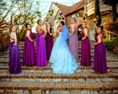 Mismatched Infinity Dresses- all colors- custom tailored in size and length     Maxi length Bridesmaids Wrap Dresses Ombre Wedding