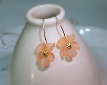 Lucite Flower Earrings - Peach - Flower Earrings - Gold Filled Sterling Silver