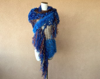 Blue Steampunk Wedding Shawl Cape Victorian Bride with Copper Brown Gold Metallic Steampunk Shawl Wrap with Fringe for Cosplay Costume