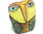"Owl art, ceramic owl sculpture, whimsical, colorful owl figurine, 3-3/4"" tall,""Owl Person Centered in Love"""