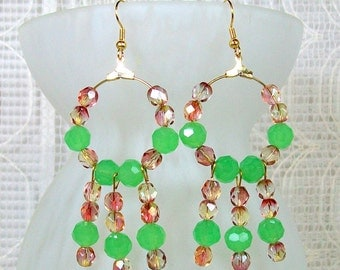 Beaded Hoop Earrings / Chandelier Earrings / Crystal Earrings / Hoop Earrings / Green Earrings / Handmade Earrings / Handmade Beaded Jewelry