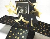 Graduation Pop Up Card - Class of 2016 - 3D Graduation Explosion Card - Black and Gold Stars - Unique High School or College Graduation Card