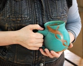 Turquoise Mug with Rust Chain- Made to Order