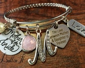 Mother of the BRIDE gift, Mother daughter jewelry, BANGLE bracelet, charm bracelet, Initial jewelry, Love between mother daughter forever