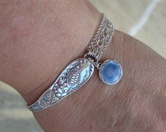 Vintage Turtle and Seashells Early 1900s  Art Nouveau Enamel Sterling Silver Spoon Heart Lock Bracelet