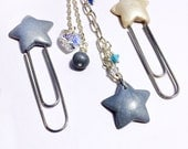 Blue Pearl Star Set Paper Clips and Planner Charm