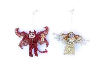 Angel and devil earrings - mismatched earrings, unusual jewelry, cute earrings, crochet wire jewelry, miniature crochet dolls, amigurumi