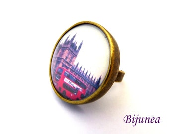 London flag ring - London ring - London ring - United Kingdom country ring r963
