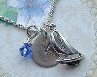Sailboat Necklace, Sailing Necklace, Sailboat Hand Stamped Sterling Silver Initial Charm Necklace, Sailing Gift, Nautical Necklace