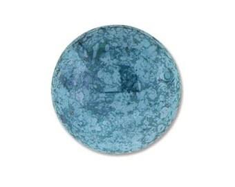 Sale 50% Off Cabochon Czech Glass Turquoise Lumi 18203 (1), Blue Turquoise Round Cabochon, Glass Cab, Wire Wrapping Beadwork Precoisa-Ornela