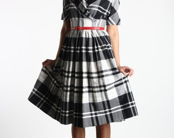 SALE- 1950s Plaid Dress in Black and White