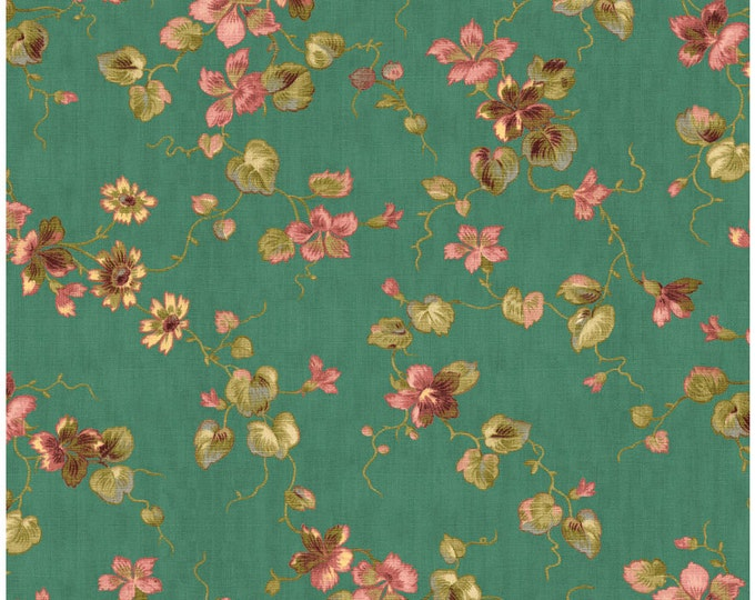 Penny Rose Riley Blake cotton fabric - Isabella Floral PR4691 Teal