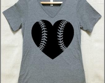 Baseball Softball Ladies Relaxed fit Vneck. Heather tri blend Gray. Any color heart available. Baseball Mom. Softball Mom.