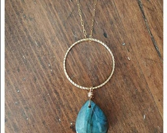 Teardrop Labradorite On A Gold Filled Chain