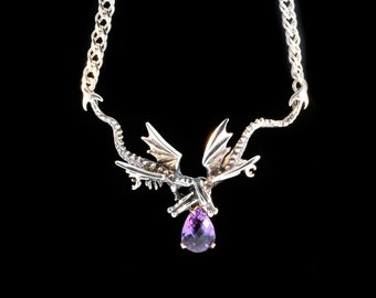 Silver Dragon Necklace Eternity Dragon Neckpiece with Amethyst Double Dragon Silver Dragon Game of Thrones Inspired Dragon Renaissance