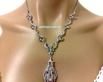 Statement Bridal Necklace, Cz Teardrop Wedding Jewelry, Swarovski Crystal Wedding Necklace, Silver Bridal Jewelry, Gift for Her, OSCAR