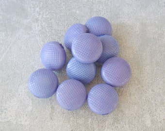 Purple Vintage Buttons 14mm - 1/2 inch Pastel Serenity Lavender Plastic Buttons - 10 VTG Retro Mod Pebbled Gently Domed Shank Buttons PL226