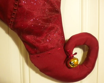 Christmas Stocking in Glittery Burgundy with Curly Elf Toe