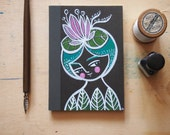 Illustrated notebook girl with water lily