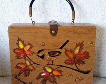Enid Collins, Collins of Texas, Vintage, Wooden Box, Handbag, Autumn Song