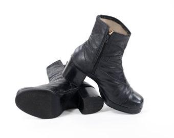 Disco Boots Vintage 1970s Men's Beatle Boots Authentic 70s Glam Rock Disco Platform Boots Mens SIze 8.5 / Womens 10