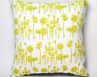 "Hand Printed Flower Pillow Cover- 16""x16"" (Yellow & White Linen)"