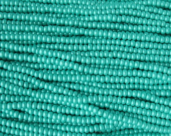6/0 Opaque Green Turquoise Pearl Terra Colorfast Czech Glass Seed Bead Strand (CW141)
