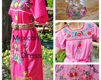 Plus size, Mexican Dress, Rose, Pink, Embroidered Dress, Frida Kahlo, size XL
